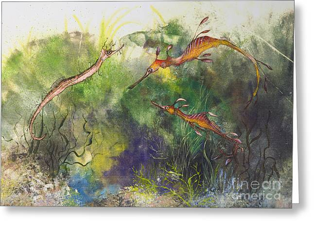 Nancy Gorr Greeting Cards - Weedy And Ribbon  Sea Dragons Greeting Card by Nancy Gorr