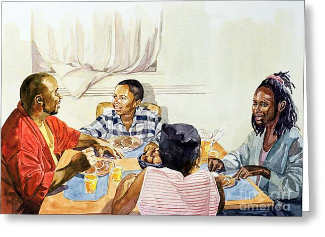 Parenthood Greeting Cards - Weekend Breakfast Greeting Card by Colin Bootman