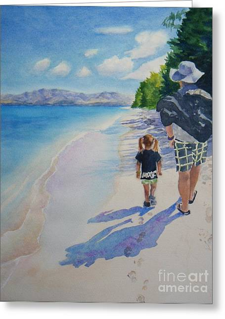 Father And Daughter Greeting Cards - weekend stroll -SOLD Greeting Card by Lisa Pope