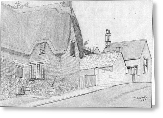 Thatch Drawings Greeting Cards - Weekley Village Greeting Card by Anthony Lewis