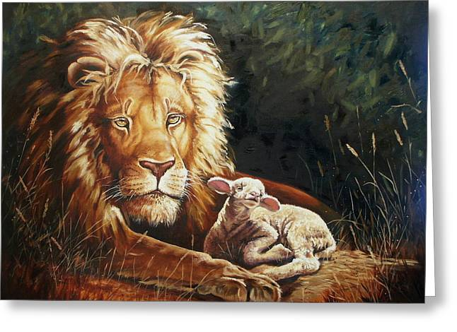 Lion And Lamb Greeting Cards - Weep NNoMore Greeting Card by Linda Rous