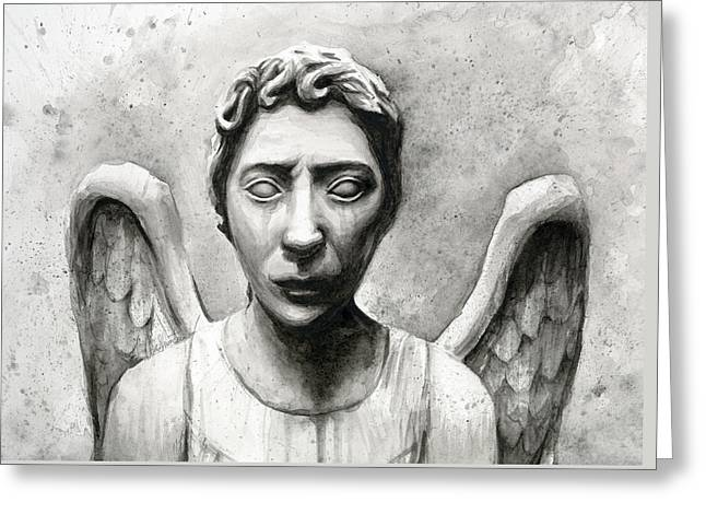 Weeping Angel Don't Blink Doctor Who Fan Art Greeting Card by Olga Shvartsur