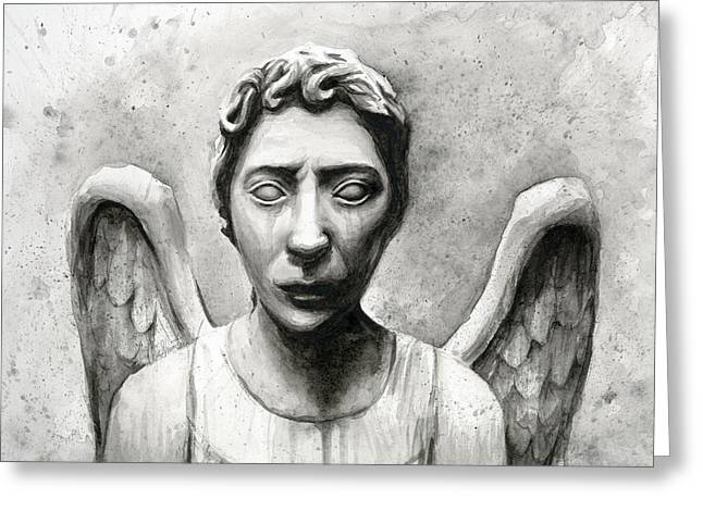 Doctor Who Greeting Cards - Weeping Angel Dont Blink Doctor Who Fan Art Greeting Card by Olga Shvartsur