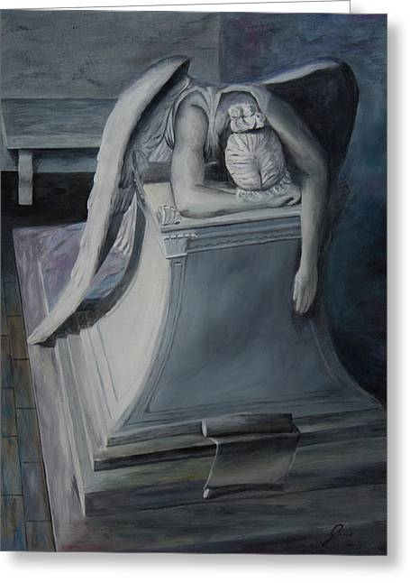 Cemetary Paintings Greeting Cards - Weeping Angel Greeting Card by Gino Didio