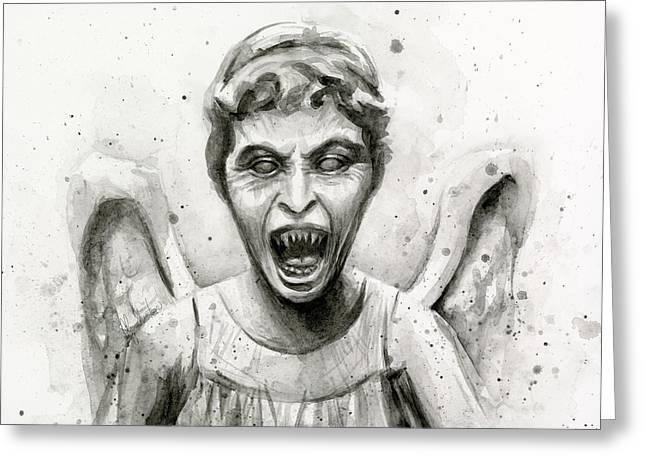 Weeping Angel Watercolor - Don't Blink Greeting Card by Olga Shvartsur