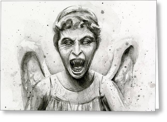 Doctor Who Greeting Cards - Weeping Angel Watercolor - Dont Blink Greeting Card by Olga Shvartsur