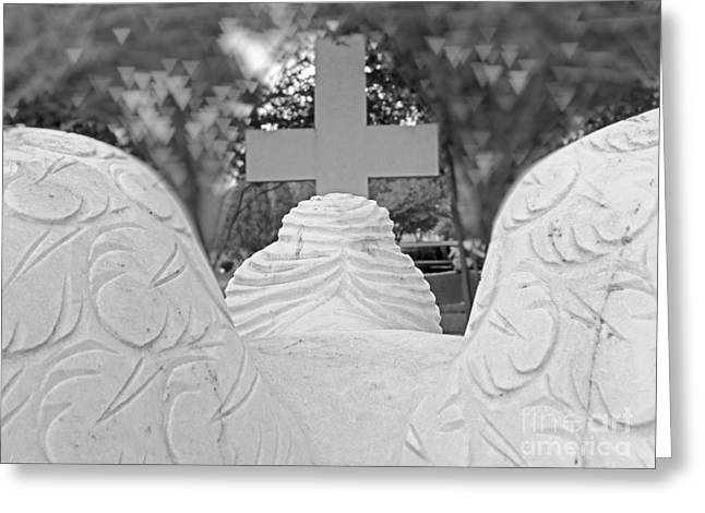 Black White Spiritual Angel Art Greeting Cards - Weeping Angel  Worship At The Cross Greeting Card by Ella Kaye Dickey