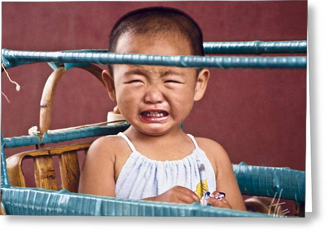Baby Crying Greeting Cards - Weeping Baby in his Buggy Greeting Card by Heiko Koehrer-Wagner