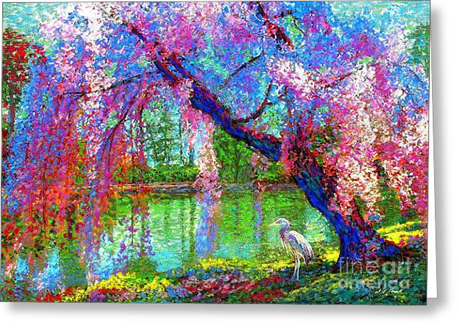 Weeping Beauty, Cherry Blossom Tree And Heron Greeting Card by Jane Small