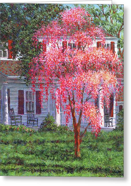 Suburb Greeting Cards - Weeping Cherry by the Veranda Greeting Card by Susan Savad