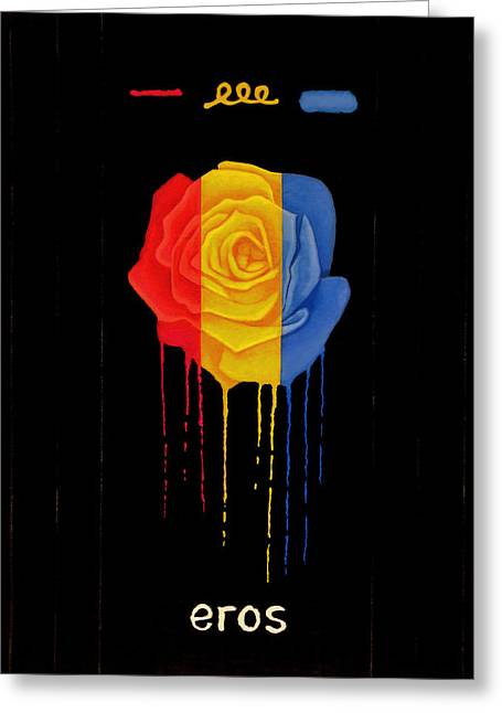 Weeping Rainbow Rose Greeting Card by Darrell Ross