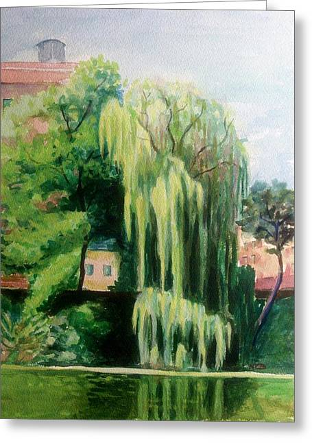 Olive Green Greeting Cards - Weeping Willow at North Pond Greeting Card by Nicolas Bouteneff
