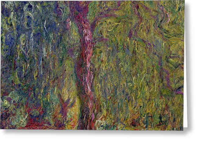 Stream Greeting Cards - Weeping Willow Greeting Card by Claude Monet