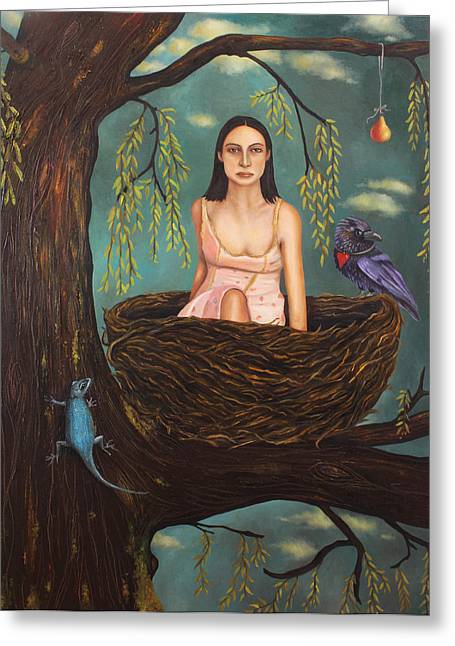 Nightgown Greeting Cards - Weeping Willow Greeting Card by Leah Saulnier The Painting Maniac