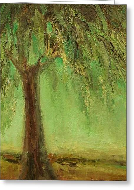 Weeping Willow Greeting Card by Mary Wolf