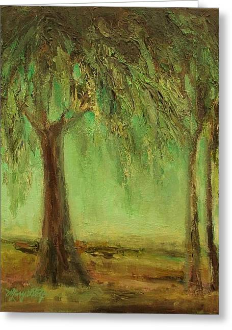 Mary Wolf Greeting Cards - Weeping Willow Greeting Card by Mary Wolf
