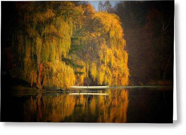 Willow Lake Greeting Cards - Weeping Willow Pier Greeting Card by Michael L Kimble