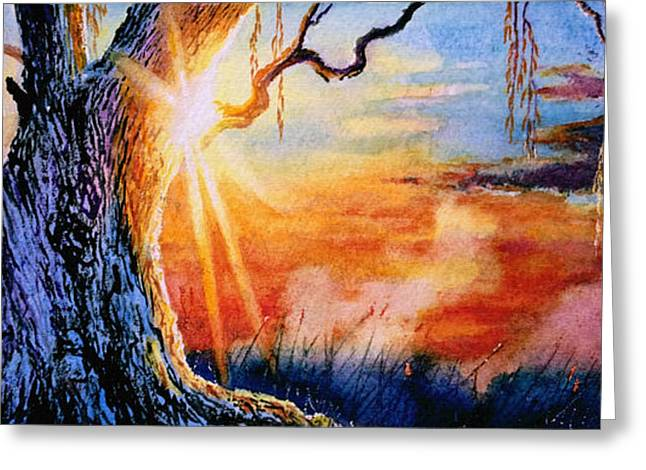 Sunset Prints Greeting Cards - Weeping Willow Sighs Greeting Card by Hanne Lore Koehler