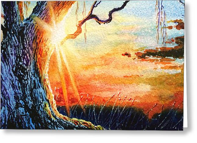 Weeping Greeting Cards - Weeping Willow Sunset Greeting Card by Hanne Lore Koehler