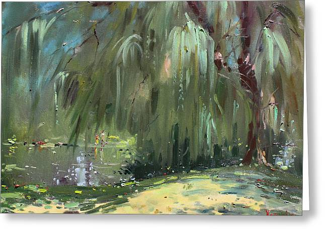 Recently Sold -  - Willow Lake Greeting Cards - Weeping Willow Tree Greeting Card by Ylli Haruni