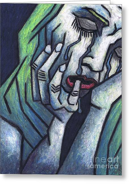 Sadness Pastels Greeting Cards - Weeping Woman Greeting Card by Kamil Swiatek