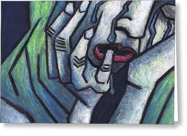 Weeping Woman Greeting Card by Kamil Swiatek