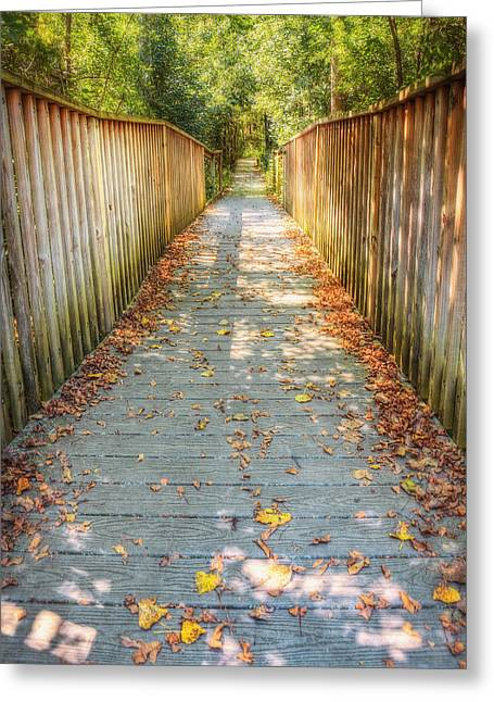 Nature Center Greeting Cards - Wehr Nature Center Bridge in Autumn  Greeting Card by The  Vault - Jennifer Rondinelli Reilly