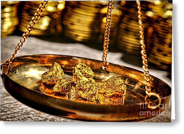 Purchase Greeting Cards - Weighing Gold Greeting Card by Olivier Le Queinec
