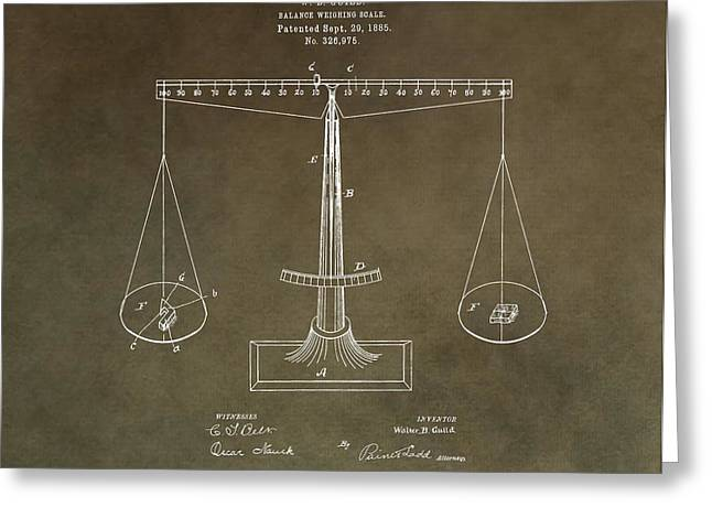 Scale Scales Greeting Cards - Weighing Scale Patent Greeting Card by Dan Sproul