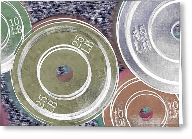 Interior Still Life Mixed Media Greeting Cards - Weight Plates Greeting Card by Tony Rubino