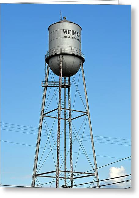 Public Water Supply Greeting Cards - Weimar Texas Water Tower Greeting Card by Connie Fox