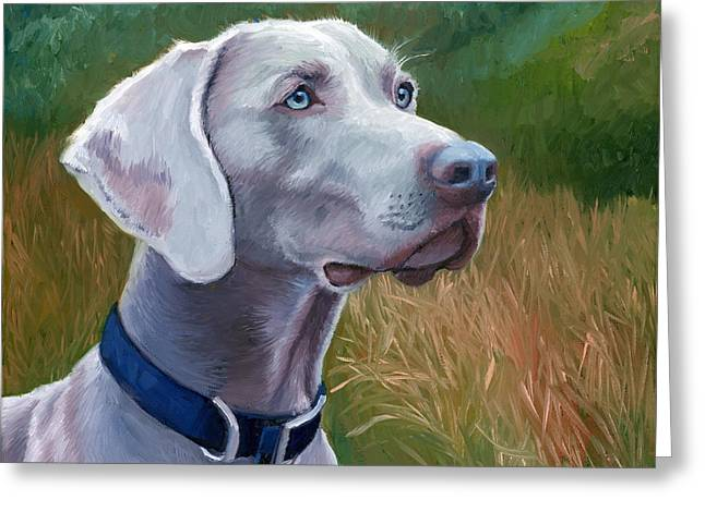 Dog Portraits Greeting Cards - Weimaraner Dog Greeting Card by Alice Leggett