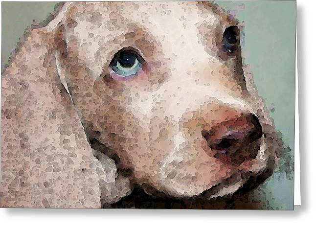 Puppies Digital Art Greeting Cards - Weimaraner Dog Art - Forgive Me Greeting Card by Sharon Cummings