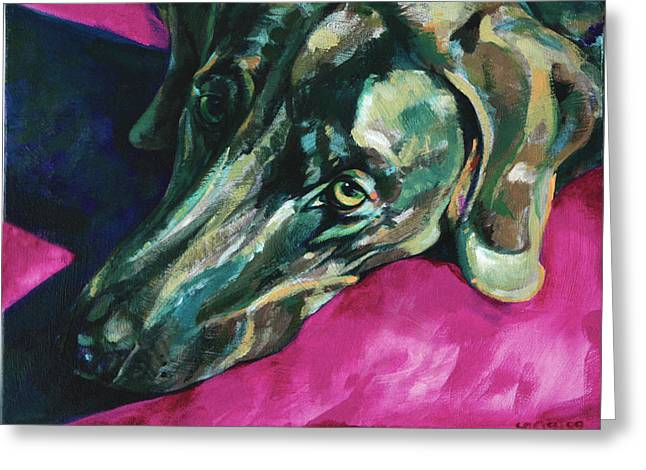 Vivid Colour Paintings Greeting Cards - Weimaraner-Dog in shadows Greeting Card by Derrick Higgins