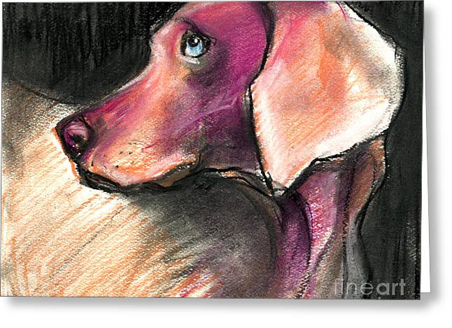 Whimsical Dog Art Greeting Cards - Weimaraner Dog painting Greeting Card by Svetlana Novikova