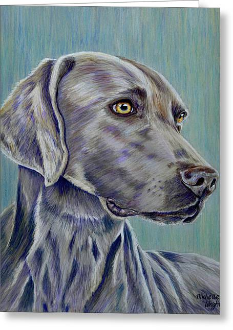 Michelle Drawings Greeting Cards - Weimaraner Grey Ghost Greeting Card by Michelle Wrighton