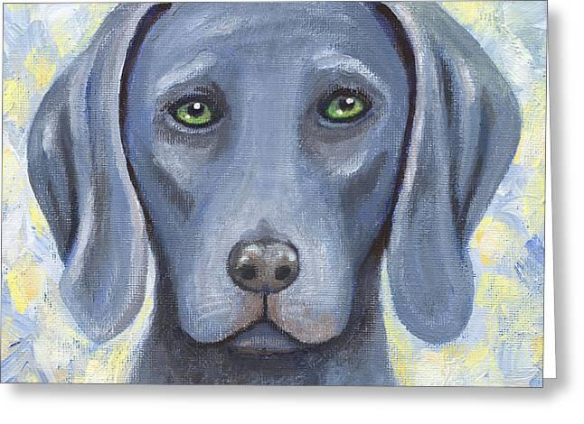 Weimaraner Puppy Greeting Cards - Weimaraner Puppy Portrait Greeting Card by Linda Mears