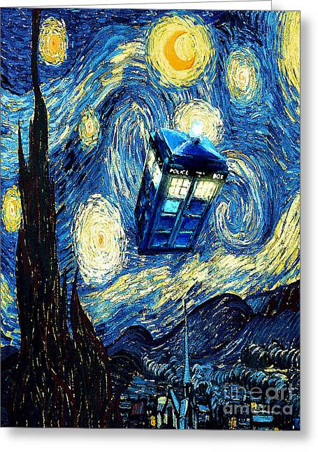 Recently Sold -  - Angel Blues Greeting Cards - Weird Flying Phone Booth Starry the night Greeting Card by Three Second
