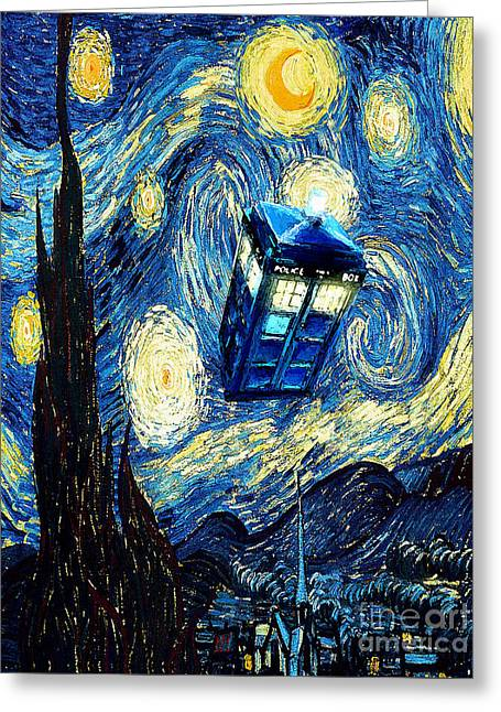 Fandom Greeting Cards - Weird Flying Phone Booth Starry the night Greeting Card by Three Second