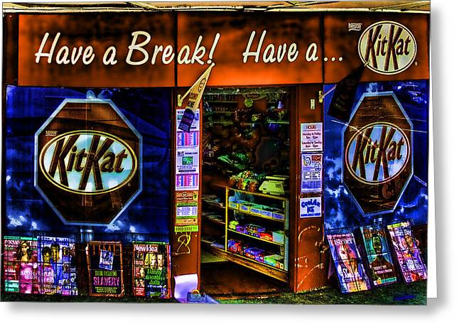 Store Fronts Greeting Cards - Weird Kit kat Store Front Greeting Card by Linda Phelps