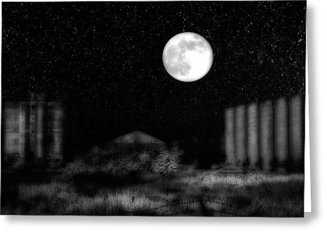 Snowy Night Night Greeting Cards - Weird Night Greeting Card by Gothicolors Donna Snyder