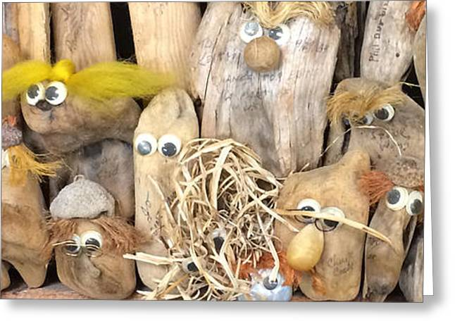 Wood Sculpture Greeting Cards - Weird People You Meet In An Antique Shop Greeting Card by Barbara Snyder