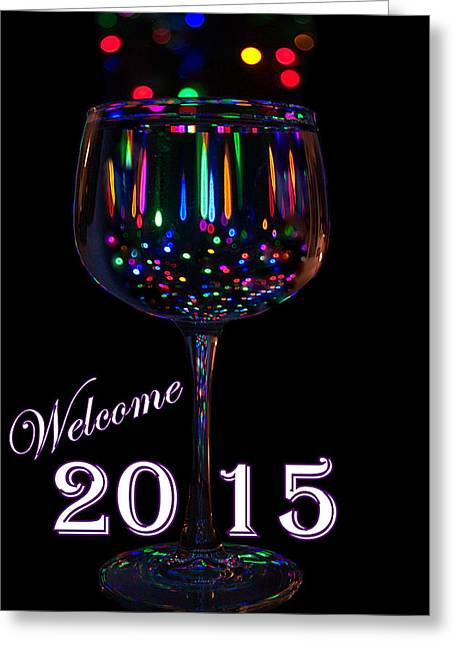 Champagne Glasses Greeting Cards - Welcome 2015 Greeting Card by Jen T