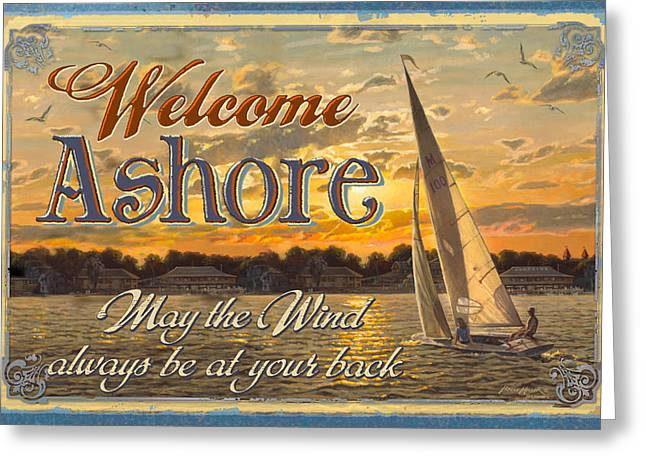 Bruce Paintings Greeting Cards - Welcome Ashore Sign Greeting Card by JQ Licensing