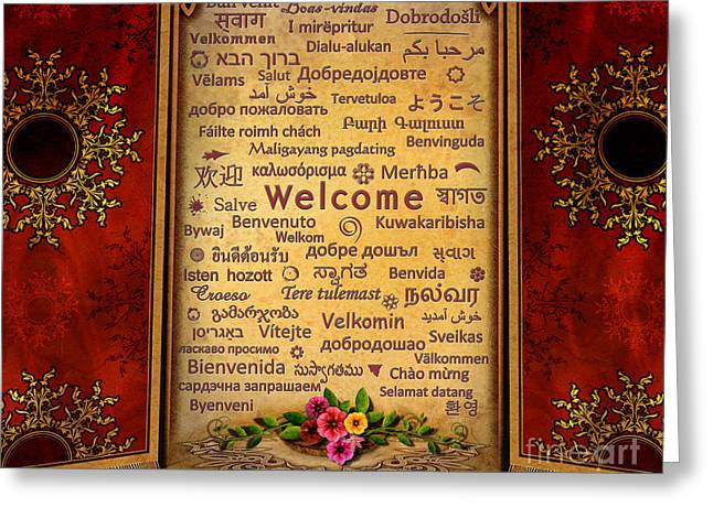 Welcome Greeting Card by Bedros Awak