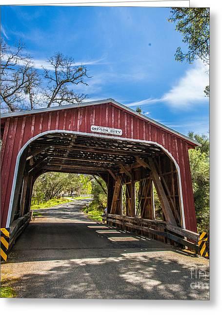 Covered Bridge Greeting Cards - Welcome Bridge Greeting Card by Charles Garcia