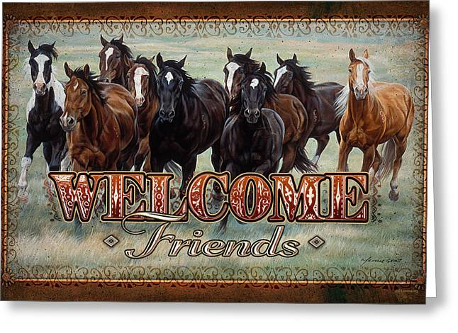 File Greeting Cards - Welcome Friends Horses Greeting Card by JQ Licensing