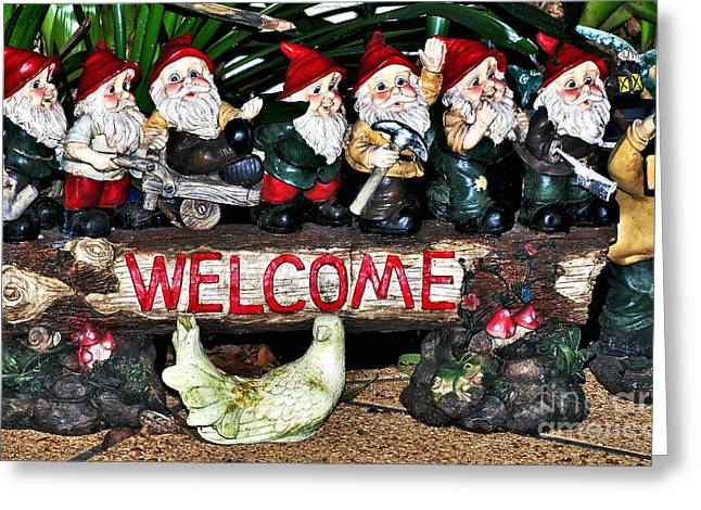 White Beard Greeting Cards - Welcome from the Seven Dwarfs Greeting Card by Kaye Menner