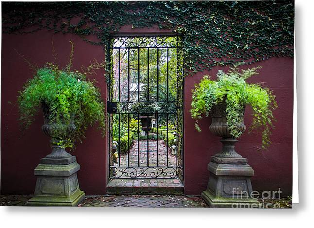 Wrought Iron Gate Greeting Cards - Welcome Garden Greeting Card by Perry Webster