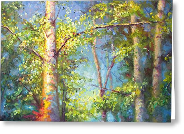 Welcome Home - Birch And Aspen Trees Greeting Card by Talya Johnson